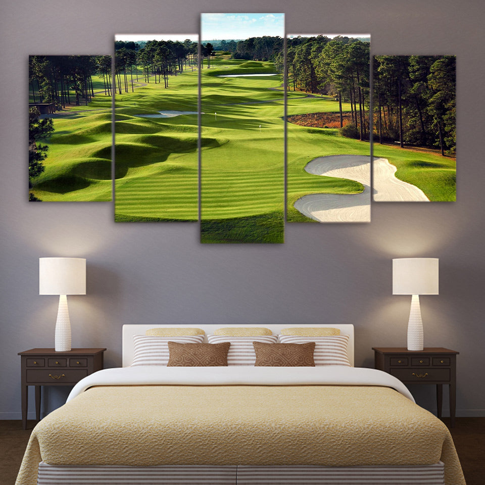 Modular Wall Art Canvas HD Prints Poster 5 Pieces Golf Course Paintings Green Trees Landscape Pictures