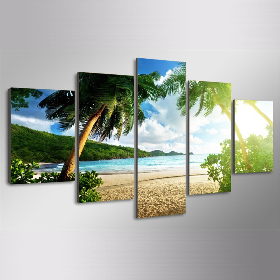 Canvas Prints Paintings Wall Art Posters 5 Pieces Beach Palm Tree Group Seascape Pictures