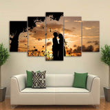 Canvas Wall Art Pictures Home Decor 5 Pieces Under The Tree Couple Sunset Shadow Landscape Paintings HD Prints Posters