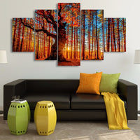Wall Art Canvas HD Prints Poster Pictures 5 Pieces Forest Sky Trees Autumn Foliage Landscape Paintings