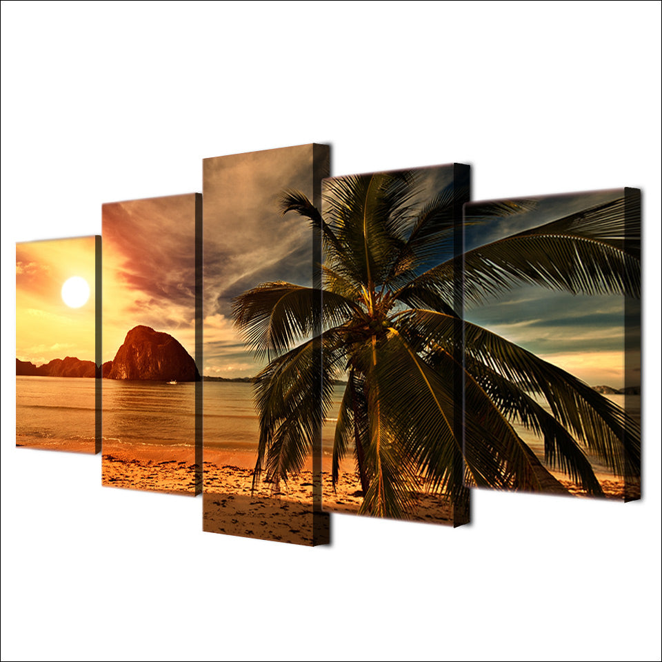 Canvas Paintings HD Prints Posters 5 Pieces Tropical Beach Palm Trees Sunset Seascape Pictures