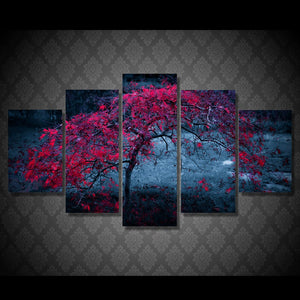 Canvas Pictures Wall Art HD Prints 5 Pieces Tree Leaves Purple Autumn Paintings Living Room Abstract Poster