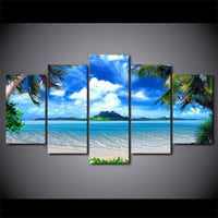 Canvas Pictures  Wall Art 5 Pieces Beach Blue Palm Trees Paintings HD Prints Seascape Poster
