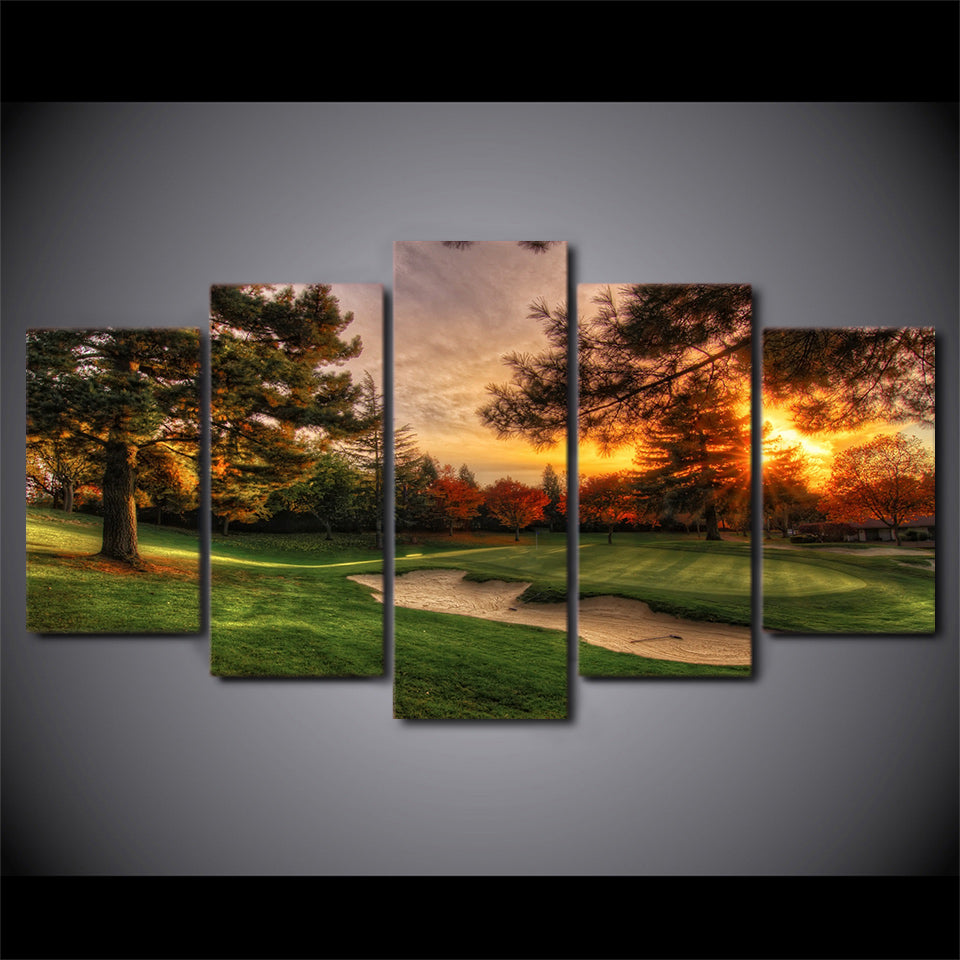 Modular Pictures Wall Art Canvas HD Prints Poster 5 Pieces Golf Course Trees Sunset Landscape Painting