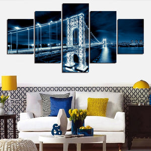 Canvas Posters Prints Pictures 5 Pieces George Washington Bridge Nightscape Paintings