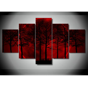 Canvas Wall Art Posters HD Prints Pictures 5 Pieces Red Moon Night Forest Trees Paintings