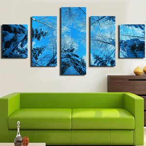 Canvas Pictures Wall Art 5 Pieces Winter Forest Fir Trees Snow Winter Paintings Prints Posters