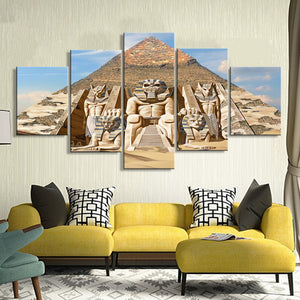 Canvas Poster Egyptian Pyramids Pictures HD Prints 5 Pieces Iron Maiden Band Paintings Wall Art