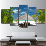 Pictures HD Prints 5 Pieces Tropical Island Painting Wall Art Canvas Palm Tree Beach Seascape Poster