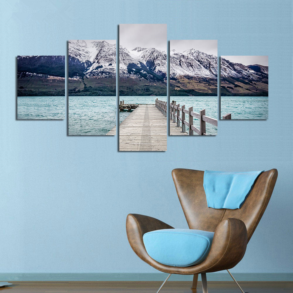 Canvas Painting Modern Art Live Wall Decoration Pictures 5 Panel Snow Mountain Landscape Painting  On Canvas