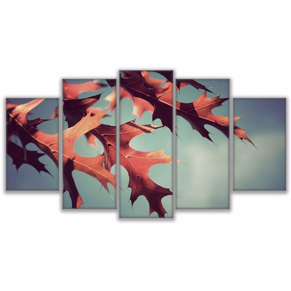 Canvas Paintings Modern Wall Art  5 Pieces Maple Leaves Landscape Poster Modular HD Prints Pictures