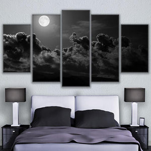 Canvas Painting Wall Art Abstract Poster 5 Pieces Look Up Moon Is Round Cloud Night Pictures