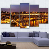 Wall Art Poster Prints Nightscape Canvas Pictures 5 Pieces Porto Ponte Dom Luis I Bridge Lights Painting