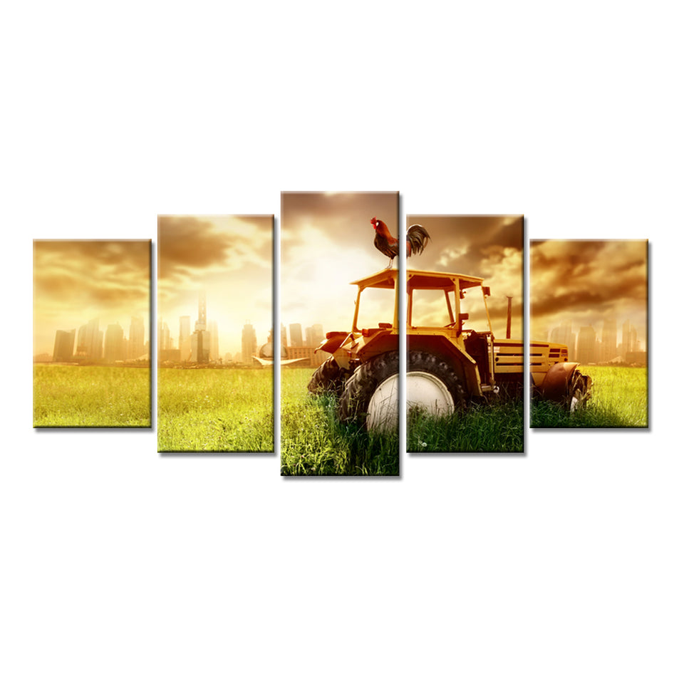 Modern Wall Art Canvas HD Printed Painting Modular Poster 5 Panel Sunshine Harvester Landscape Pictures