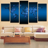 Modern Abstract Oil Painting On Canvas Art Home Wall Pictures 5 Panel Deep Blue World Map Modular