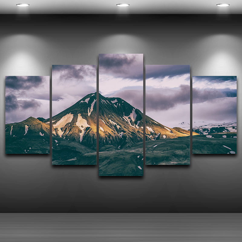 Modern Oil Canvas Painting Wall Art 5 Panel Snow Mountains Landscape Poster HD Printed