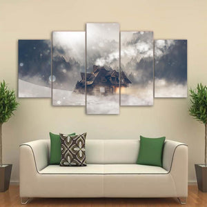 Wall Art Canvas HD Printed Landscape Painting 5 Panels House Snow Forest Sunshine Poster Modern Pictures