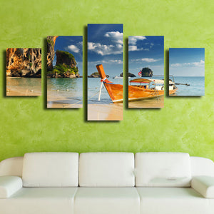 Oil Canvas Painting Picture Wall Art 5 Panel The Sea Ship Landscape Home Decoration