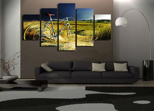 5 Panel Bicycle In The Endless Wilderness Modern Home Wall Decor Canvas Picture Art HD Print Painting On Canvas