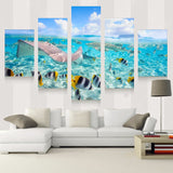 5 Panel Blue Sky Fish Underwater World Painting Canvas Wall Art Picture Canvas Print Modern Painting
