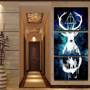 Modular Wall Art HD Prints Pictures 3 Pieces Canvas Paintings Abstract Animal Deer Poster