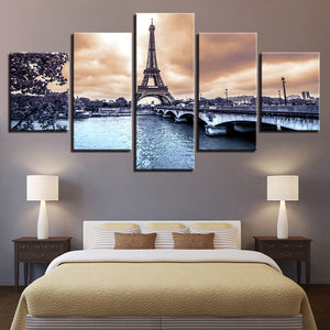 Canvas Wall Art Pictures Poster 5 Pieces Paris Eiffel Tower River Bridge HD Printed Landscape Painting