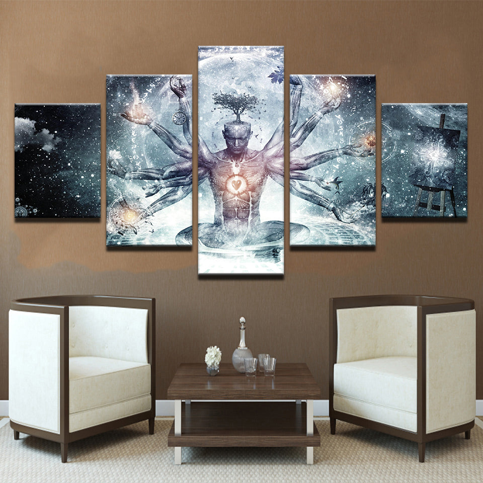 Modern Canvas HD Prints Pictures Wall Art 5 Pieces Buddha Art Yoga Painting Tree Abstract Meditation Poster