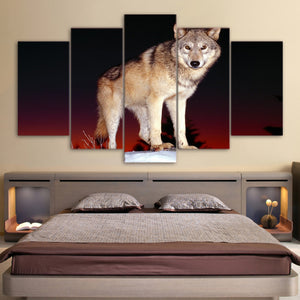 HD Printed 5 Piece Canvas Art Wolf Painting Black and Red Framed Wall Pictures