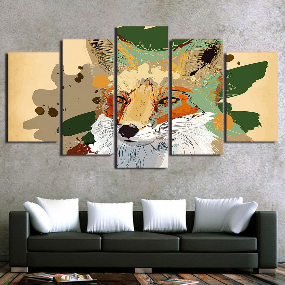 HD Printed 5 Piece Canvas Art Abstract Wolf Painting Wall Pictures Decor Modular Painting
