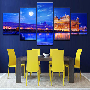 Canvas Wall Art HD Prints Painting Modular Pictures Frame 5 Pieces Indian Golden Temple Posters