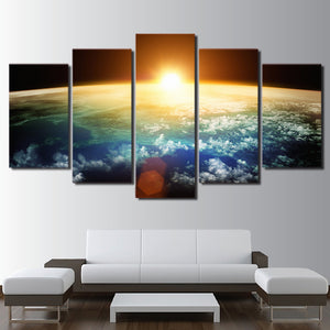 Modular Canvas HD Prints Pictures Decor Wall Art 5 Pieces Universe Sunshine Space Paintings Blue Earth Posters