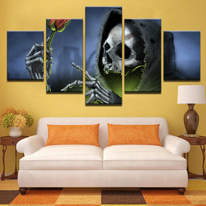 Canvas Pictures Wall Art 5 Pieces Black Hat Skull Red Rose Painting HD Prints Halloween Poster