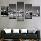 Canvas HD Prints Pictures 5 Pieces Black White Brooklyn Bridge City Night View Paintings Home Wall