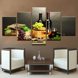 Canvas Pictures Modular HD Prints Poster 5 Pieces Grape Red Wine Glasses Paintings Wall Art