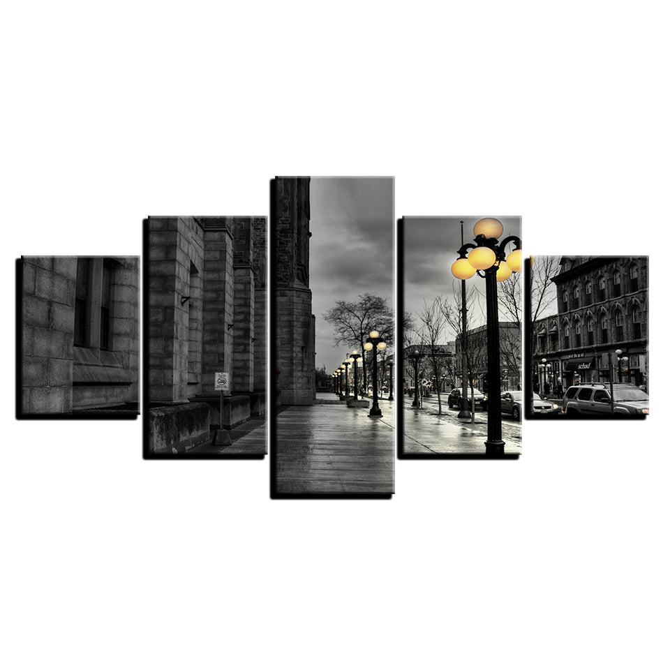Canvas Painting Wall Art 5 Pieces Black White London City Streetscape Pictures HD Prints Poster