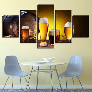 Canvas HD Prints Pictures 5 Pieces Beer And Wine Glass Oak Barrels Paintings Wall Art Kitchen Poster Decor