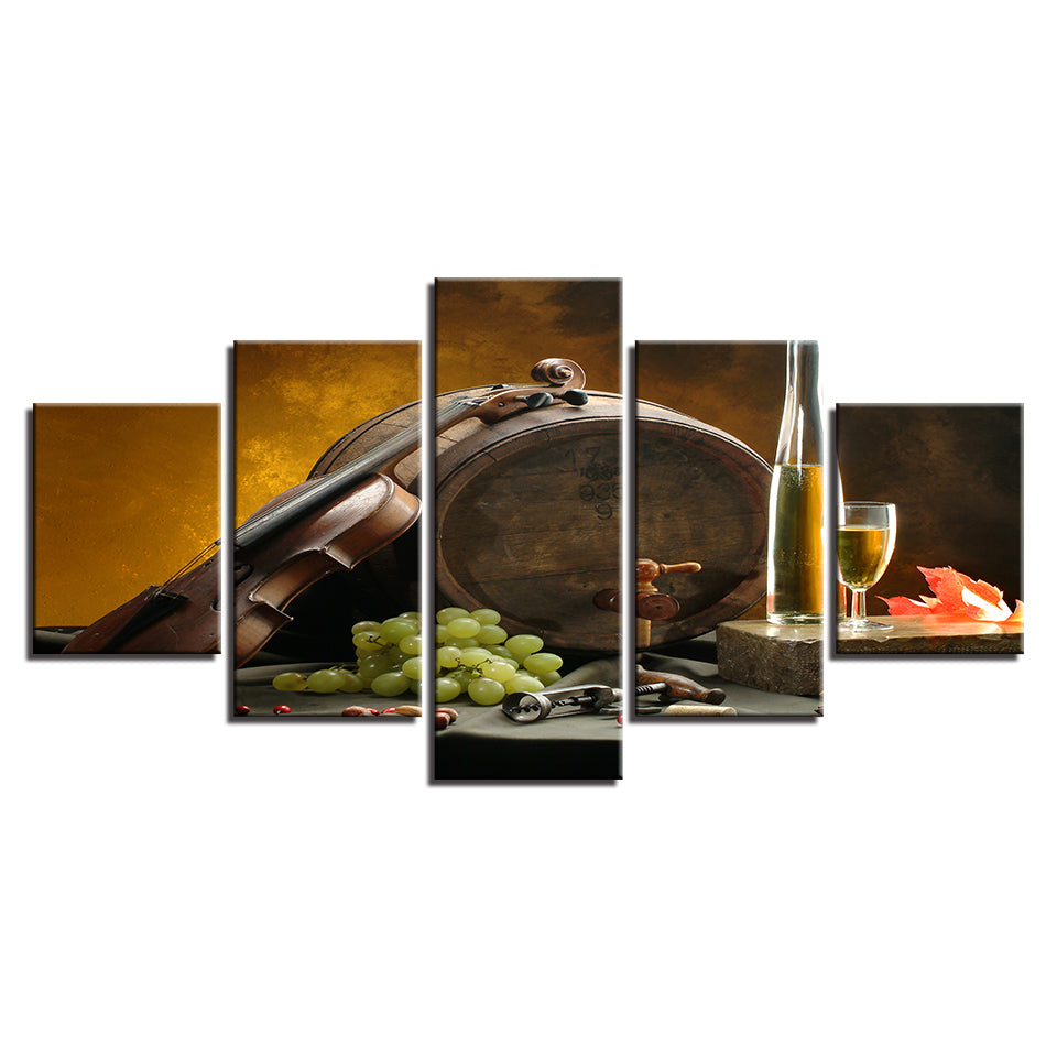 Canvas Paintings Kitchen Wall Art 5 Pieces Wine Glass Oak Barrels Pictures HD Prints Grape Violin Posters