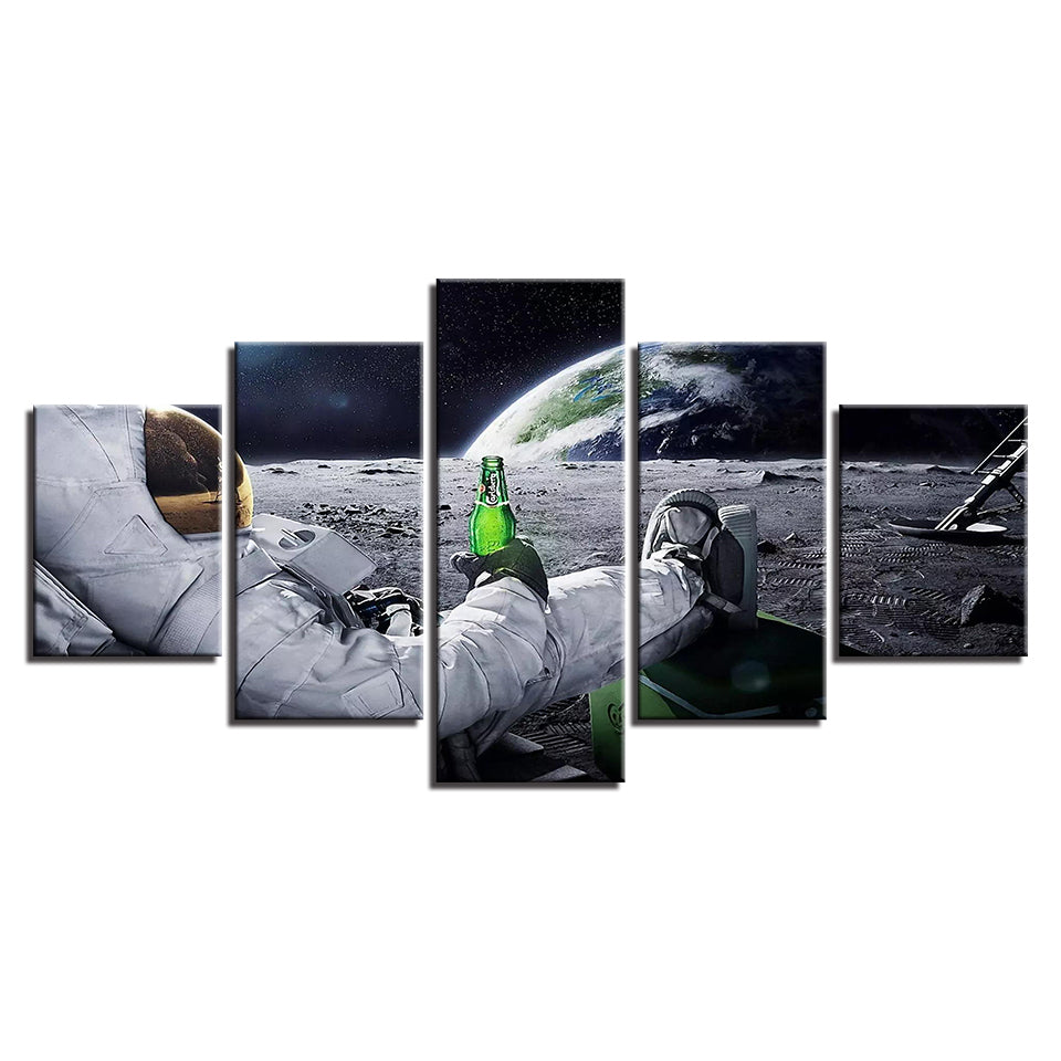 Canvas Wall Art Pictures 5 Pieces Astronaut Paintings Living Room HD Prints Abstract Lunar Landscape Poster