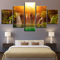 Canvas Painting Wall Art 5 Piece Sunshine Waterfall Lake Natural Landscape Poster HD Prints Pictures