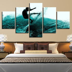 Canvas Poster Wall Art HD Prints 5 Pieces Surfing Paintings Surfer Waves Landscape Pictures