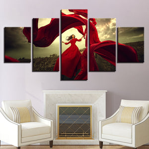Canvas Painting HD Prints 5 Pieces Red Dress Girl Pictures Dancing Skirt In The Wind Poster Wall Art