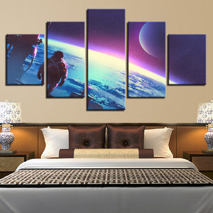 Canvas Modular Abstract Pictures 5 Pieces Astronauts Landed On The Moon Paintings Wall Art HD Prints Poster