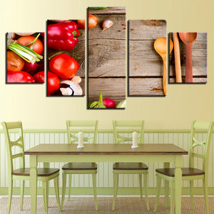 Canvas HD Prints Paintings Kitchen 5 Pieces Food Spoon Vegetables Poster Restaurant Tomatoes Pictures