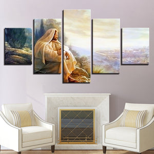 Canvas HD Prints Paintings Modular Wall Art Glory To God Pictures 5 Pieces Jesus Christ Poster