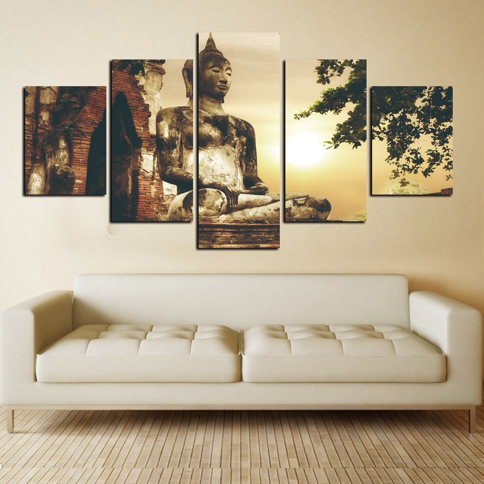 Canvas Art Poster Modern Pictures 5 Panel Restoring Ancient Ways Figure Of Buddha Painting Wall