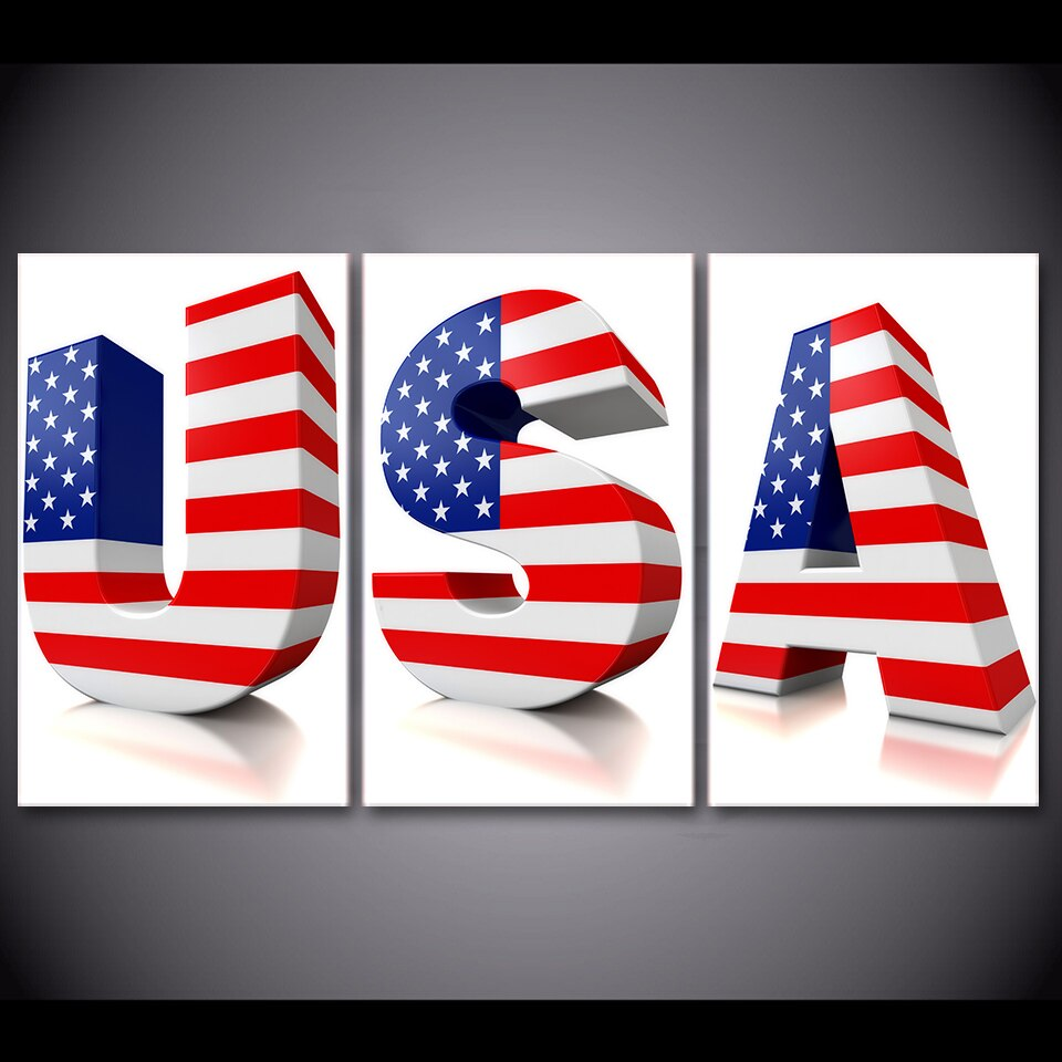 3 Piece Canvas Painting USA 3D Words US Flag HD Posters And Prints Canvas Painting