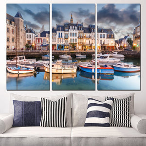 3 Panels Canvas Art City France Boats Sights Home Decor Wall Art Painting Canvas Prints Pictures Living Room Poster