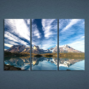 3 Panels Canvas Art Cloudy Mountain Reflection Home Decor Wall Art Painting Canvas Prints Picture Living Room Poster