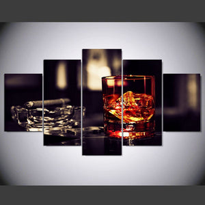 Modern Wall Art Poster Pictures 5 Panel Cigar Wine Canvas HD Print Painting Modular