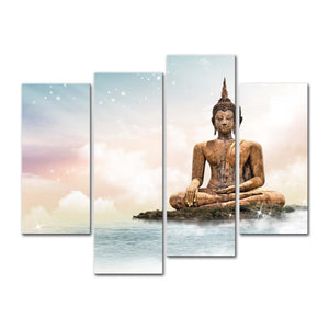 4 Pieces Canvas Wall Art Buddha Canvas Painting Bangkok Temple Sculpture Buddha Religious Modern Painting